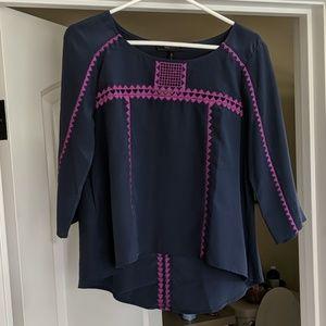 BCBG Mara Embroidered Silk Top
